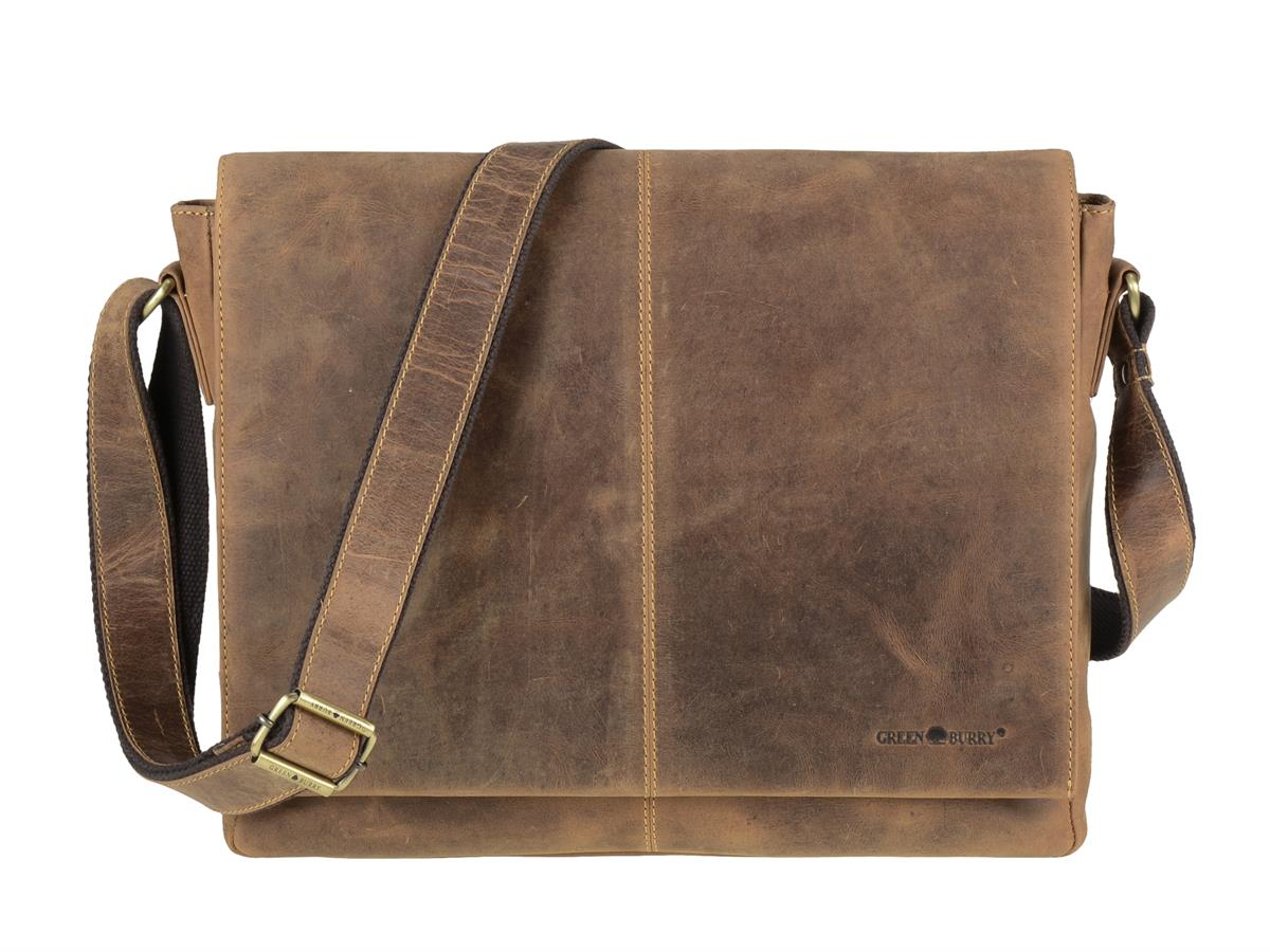 Flacher A4 Messenger Bag aus der Vintage Serie in antik braun mit Tabletfach | Greenburry 1632-25